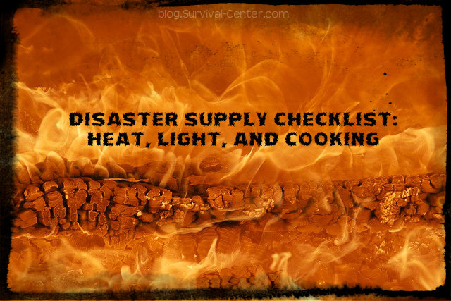Disaster Supply Checklist for Heat, Light and Cooking